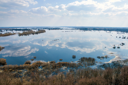 spring overflow of Dnieper river, top view