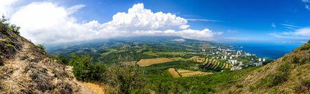 picturesque landscape of Partenit, Crimea, panorama Stock Photo
