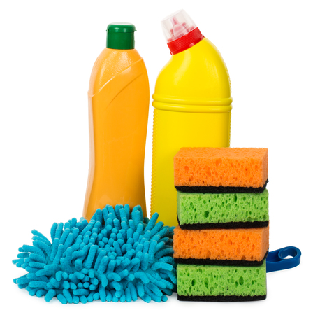 articles: cleaning articles and sponges, isolated on white Stock Photo