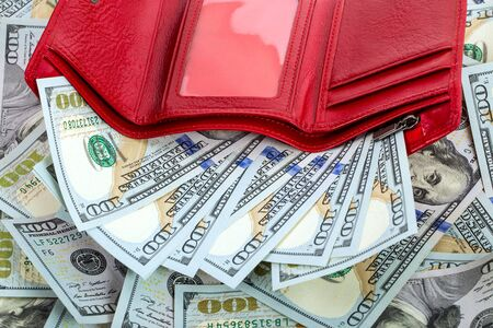 change purse: close-up opened red wallet with money Stock Photo