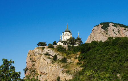 The Church of Christs Resurrection in Crimea located on cliff Stock Photo