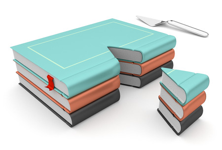 Food for thought concept with3d cake books