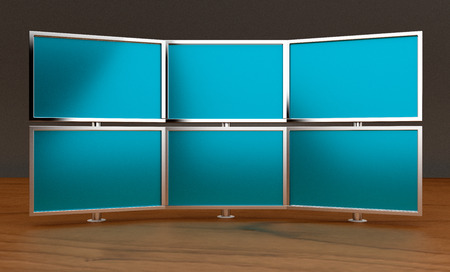 lcd tv: Multiple monitors (3d render) Stock Photo