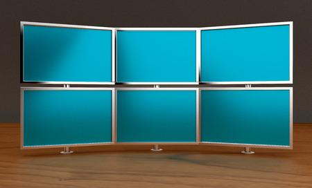 render: Multiple monitors (3d render) Stock Photo