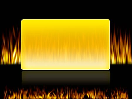 fire in front and back side of a yellow box photo