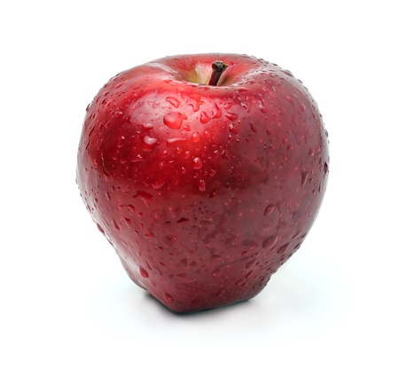 Fresh red apple on white background photo