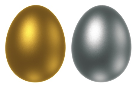 Golden and Silver egg isolated on a white background