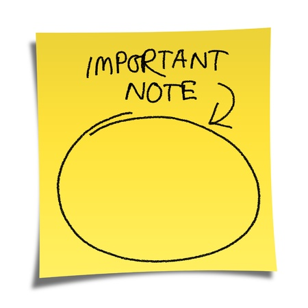 yellow note paper on white background with message �important note�