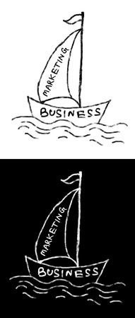 drawing boat with mainsail representing marketing concept
