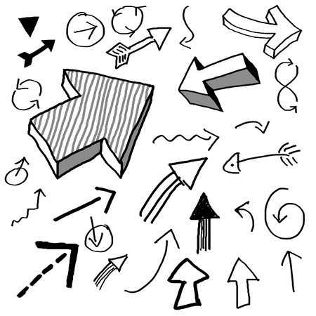 doodled: various arrows drawn in doodled style Stock Photo