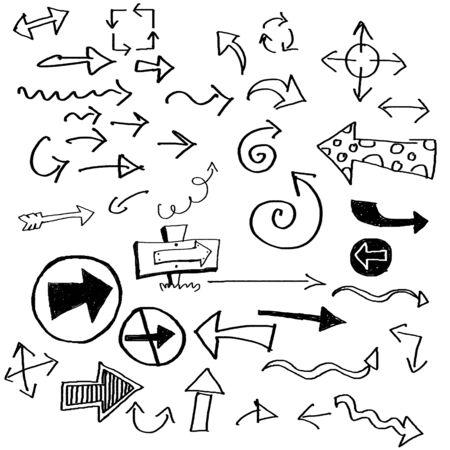 garabatos: varias flechas dibujadas en estilo doodled Foto de archivo