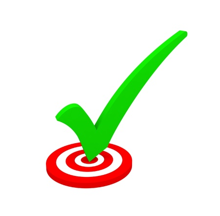 scoring: Green check mark on a red target isolated on white