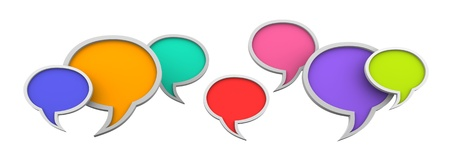 Three dimensional colorful speech bubbles on white background Stock Photo