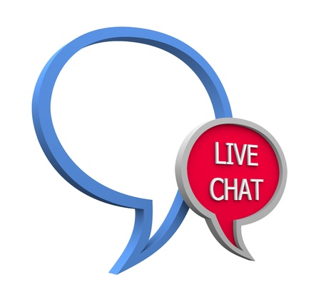 Live chat icon on white background Stock Photo - 14591397