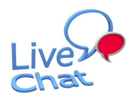 chat bubble: Live chat icon on white background Stock Photo