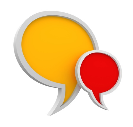 comments: Three dimensional colorful speech bubbles on white background Stock Photo