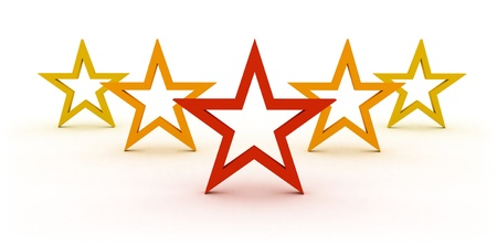 rated: star rating with five stars representing symbol and concept of competition success and best quality