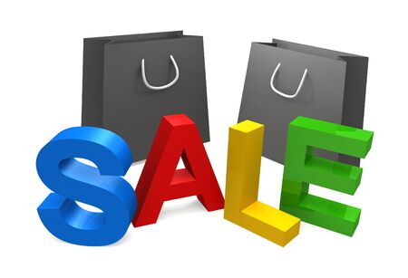 three dimensional sale text with bags on white background Stock Photo - 14729333
