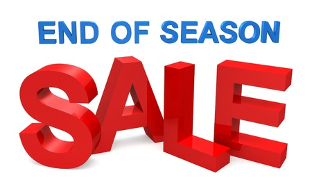 season: three dimensional sale text with bags on white background