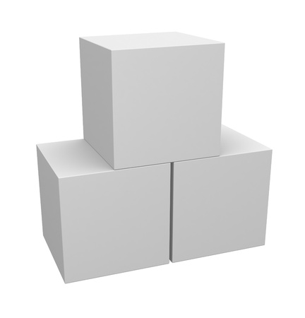 Three 3D cubes isolated on white