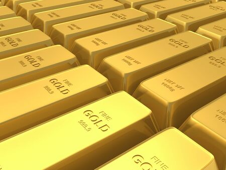 gold bars background Stock Photo