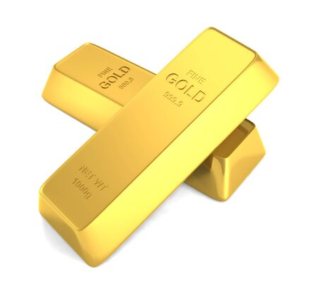 gold bars isolated Stock Photo