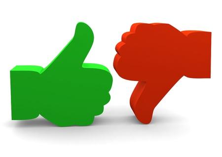 dislike: Uit en in tegenstelling tot symbolen op wit wordt geïsoleerd Stockfoto