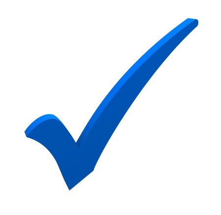 to tick: marca de verificación azul sobre fondo blanco Foto de archivo