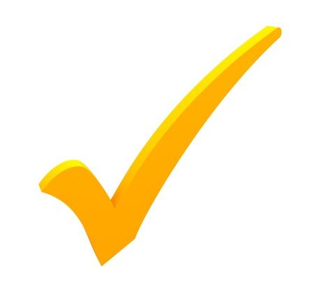 garrapata: marca de verificación de color amarillo sobre fondo blanco Foto de archivo