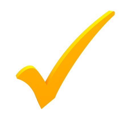 confirm confirmation: yellow check mark on white background Stock Photo