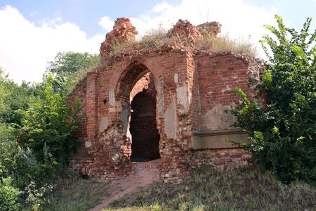 ruined old red brick building