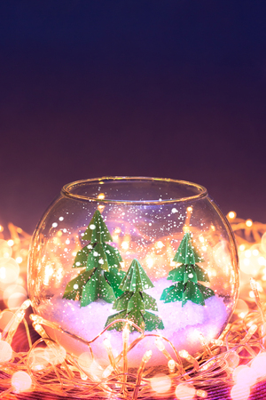 miniature of three fir trees in a glass bowl Stock Photo