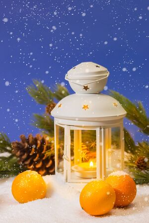 Christmas lantern with tangerines and pine tree