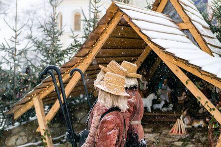 carols: Nativity play. Christmas nativity scene.