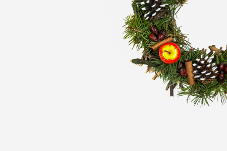 natural materials: Isolated Christmas wreath made of natural materials Stock Photo