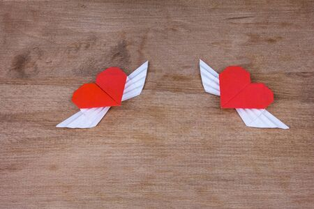 Origami Heart With Wings Two Hearts Stock Photo Picture And