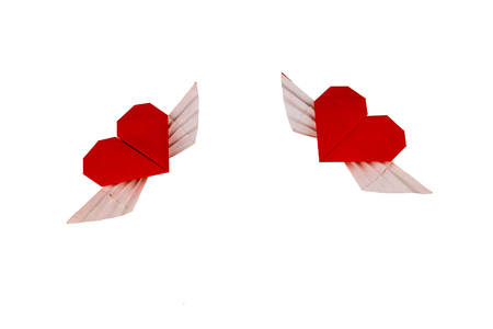 two hearts: Origami Heart with Wings. Two hearts.