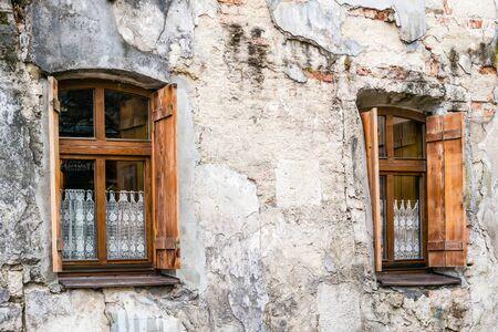 lviv: Old windows in Lviv. Vintage style window. Stock Photo