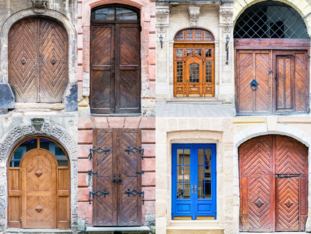 A Photo Collage Of Old Vintage Front Doors To Houses And Homes Stock