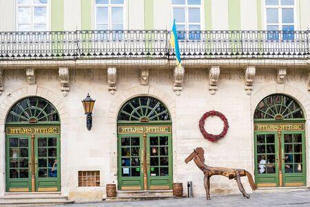 nook: Lviv, Ukraine, Europe - February, 2016: Picturesque nook, street cafe Atlas in old town Lviv.