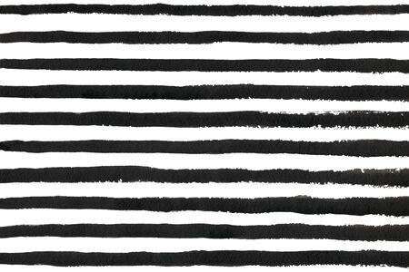 Watercolor black stripe grunge pattern. Abstract black and white brush strokes background. Hand drawn stripes pattern for fabric print, textile design, fashion. Standard-Bild