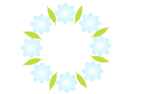un: Periwinkle flowers line in a circle on white background. Flowers frame. Circular floral wreaths for your text. Blue periwinkle flowers arranged un a shape of the wreath. Stock Photo