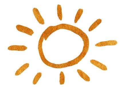 Main d'or Grunge soleil dessiné peint avec un pinceau. Banque d'images - 59798702
