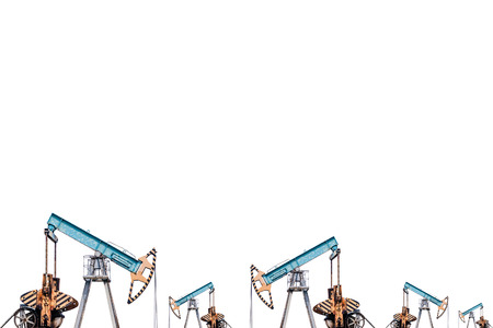 Oil pumps on white background.