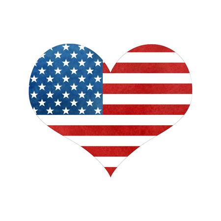 Bandera De Estados Unidos De Forma De Corazón De Acuarela. Amo El ...