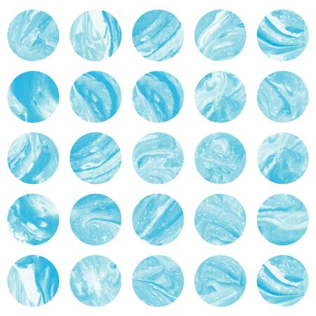 blue circles: Watercolor marble circles in blue color.