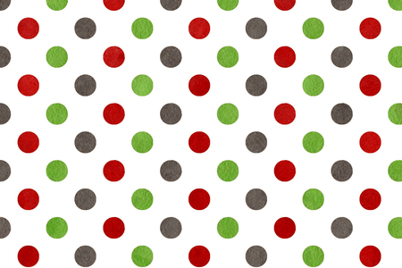 dark red: Watercolor dots in green, dark red and grey color. Stock Photo
