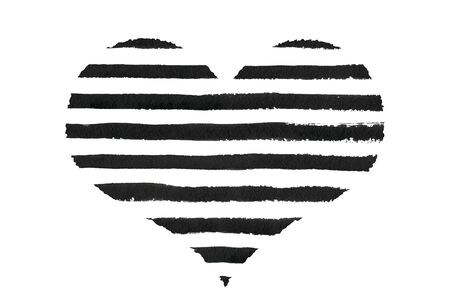 at the edge of: Black striped watercolor heart with rough edge. Black grunge heart.
