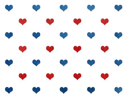 corazones azules: Acuarela corazones azul y rojo oscuro sobre fondo negro patrón. Foto de archivo