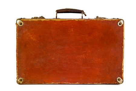 duffel: Old shabby brown suitcase with angle bars. Retro suitcase. Vintage baggage. Vintage travel bag. Stock Photo
